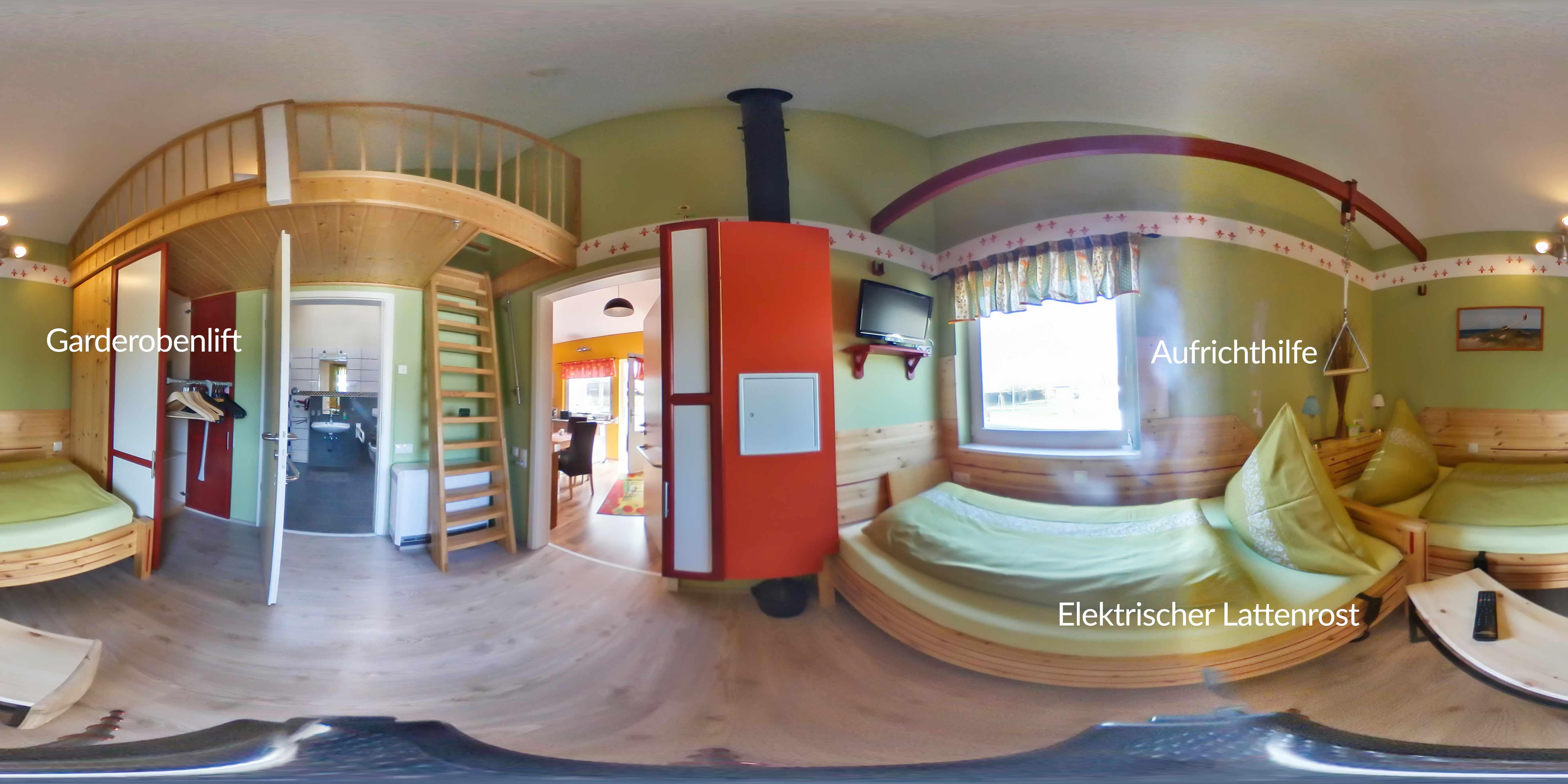 Schlafbereich Einzelbetten mit Rundumblick